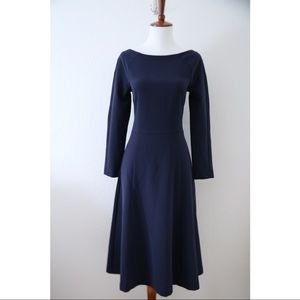 H&M Navy Fit Flare Dress 3/4 Length Sleeve Size 6